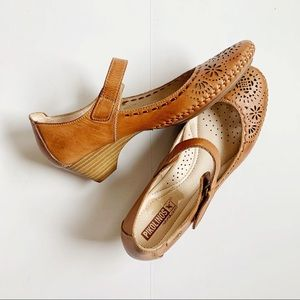 Pikolinos Brown Perforated Heeled Mary Janes 39